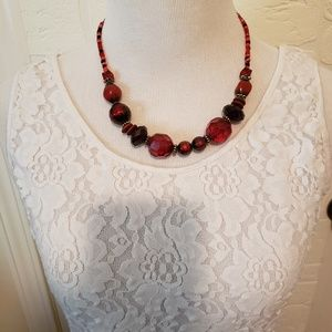 Red, Black & Orange Various Bead Necklace